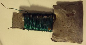 Electromagnet with green wire